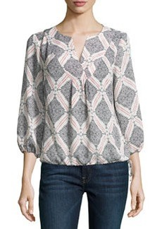 Laundry by Shelli Segal Printed 3/4-Sleeve Boho Top, White/Black/Red