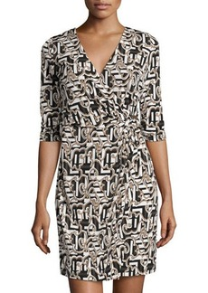 Laundry by Shelli Segal Printed 3/4-Sleeve Wrap Dress