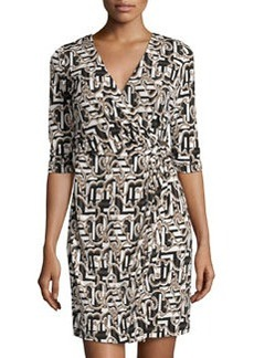 Laundry by Shelli Segal Printed 3/4-Sleeve Wrap Dress, Black/Multi