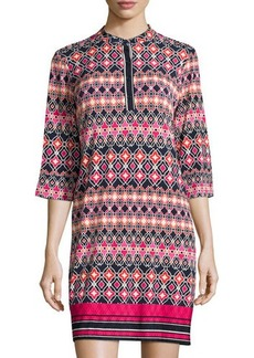 Laundry by Shelli Segal Printed Band-Collar 3/4-Sleeve Dress