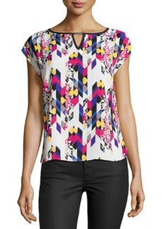 Laundry by Shelli Segal Printed Cap-Sleeve Blouse, Warm White/Multi