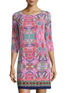 Laundry by Shelli Segal Printed Cutout-Back Shift Dress, Calypso Coral/Multi