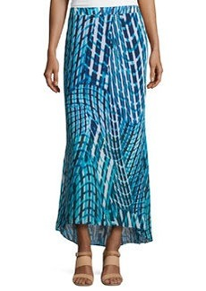 Laundry by Shelli Segal Printed High-Low Maxi Skirt, Brilliant Blue/Multi
