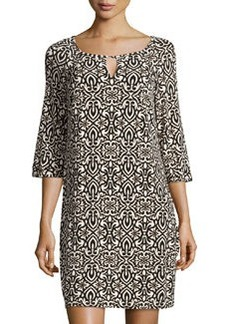 Laundry By Design Printed Jersey 3/4-Sleeve Dress