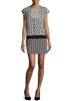 Laundry by Shelli Segal Printed Jersey Mini Dress, Black/White