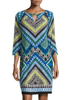 Laundry by Shelli Segal Printed Keyhole 3/4-Sleeve Dress, Princess Blue/Multi