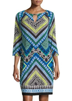 Laundry by Shelli Segal Printed Keyhole 3/4-Sleeve Dress