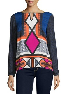 Laundry by Shelli Segal Printed Keyhole Blouse