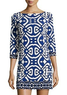 Laundry By Design Printed Knit 3/4-Sleeve Dress, Blue Beret