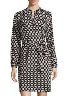 Laundry by Shelli Segal Printed Long-Sleeve Shirtdress, Black/Multi