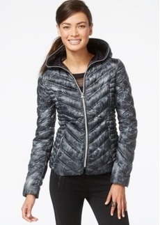 Laundry by Shelli Segal Printed Packable Down Puffer Coat
