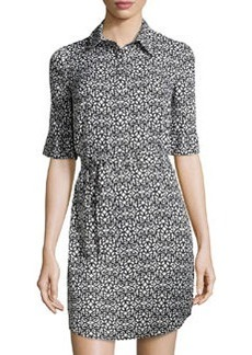 Laundry by Shelli Segal Printed Short-Sleeve Shirtdress, Black Multi