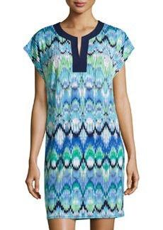 Laundry by Shelli Segal Printed Split-Neck Dress, Summer Green/Multi