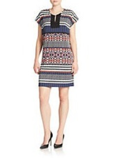 LAUNDRY BY SHELLI SEGAL Printed Split-Neck Sheath Dress