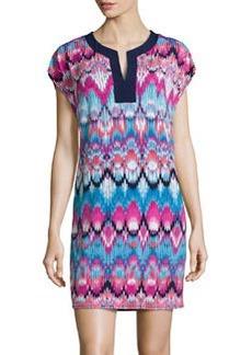 Laundry by Shelli Segal Printed Split-Neck Short-Sleeve Dress, Rose/Violet/Multi