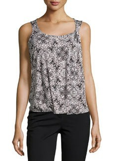 Laundry by Shelli Segal Printed Stretch-Knit Tank, Black