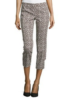 Laundry by Shelli Segal Printed Twill Cropped Pants, Khaki/Multi