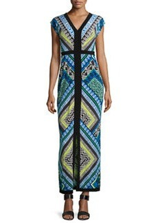 Laundry by Shelli Segal Printed V-Neck Front-Slit Maxi Dress, Princess Blue/Multi