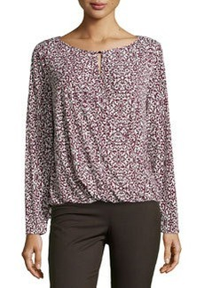 Laundry by Shelli Segal Printed Wrap Drape Top, Garnet 610