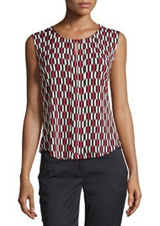 Laundry by Shelli Segal Prism-Print Stretch Top, Tango Red/Multi