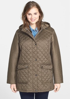 Laundry by Shelli Segal Quilted Coat with Detachable Hood (Plus Size)