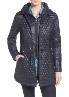 Laundry by Shelli Segal Quilted Jacket with Hooded Inset