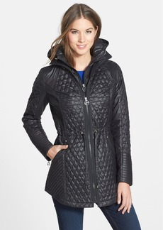 Laundry by Shelli Segal Quilted Jacket with Hooded Inset Bib (Regular & Petite)