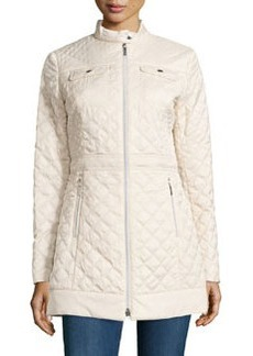 Laundry by Shelli Segal Quilted Zip-Front Coat w/ Bag, Pearl