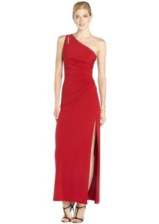 Laundry by Shelli Segal red jersey shirred beaded one shoulder cutout gown