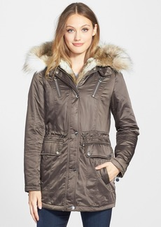 Laundry by Shelli Segal Removable Faux Fur Trim Parka (Regular & Petite)