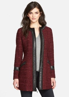 Laundry by Shelli Segal Ribbon Trim Tweed Coat (Regular & Petite)
