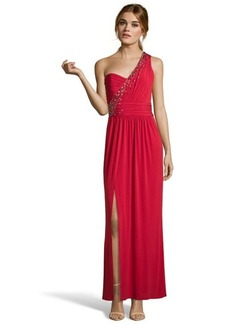 Laundry by Shelli Segal rose red jersey embellished one-shoulder gown
