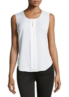 Laundry by Shelli Segal Round-Neck Sleeveless Blouse, Optic White