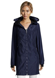 Laundry by Shelli Segal royal navy water resistant zip front hooded ...