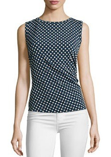 Laundry by Shelli Segal Ruched Circle-Print Sleeveless Top, Black/Warm White/Multi