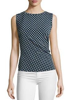 Laundry by Shelli Segal Ruched Circle-Print Sleeveless Top, Black/Warm White/Multi
