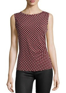 Laundry by Shelli Segal Ruched Circle-Print Sleeveless Top, High Risk Red/Multi