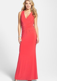 Laundry by Shelli Segal Ruched Cross Back Jersey Gown
