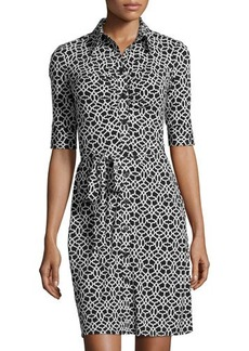 Laundry by Shelli Segal Ruched Half-Sleeve Printed Shirtdress