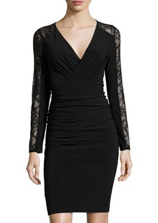 Laundry by Shelli Segal Ruched Lace-Trim Long-Sleeve Dress