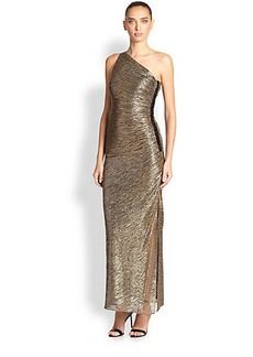 Laundry by Shelli Segal Ruched One-Shoulder Metallic Dress