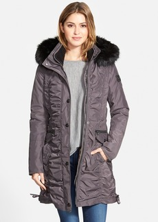 Laundry by Shelli Segal Ruched Parka with Detachable Faux Fur Trim Hood & Liner (Regular & Petite)