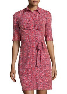 Laundry by Shelli Segal Ruched Printed Shirt Dress, Hibiscus Multi