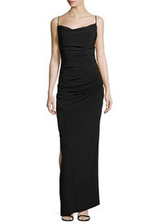 Laundry by Shelli Segal Ruched Spaghetti Strap Gown with Side Slit, Black