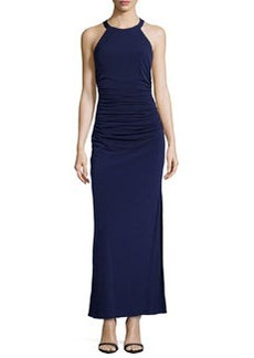Laundry by Shelli Segal Ruched-Waist Matte Jersey Gown, Inkblot