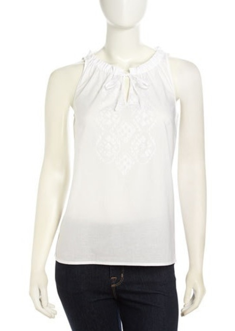 Laundry by Shelli Segal Ruffle Detailed Embroidered-Front Top