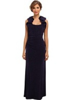 Laundry by Shelli Segal Ruffle Glitzy Knit Gown