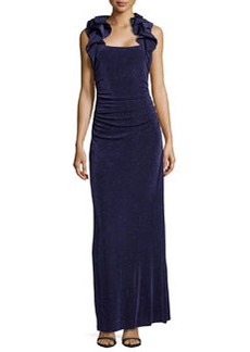 Laundry by Shelli Segal Ruffle-Trimmed Glitzy Knit Gown, Inkblot