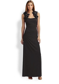Laundry by Shelli Segal Ruffle-Trimmed Jersey Gown