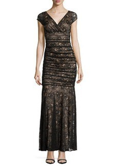 Laundry by Shelli Segal Rukita V-Neck Lace Gown, Black